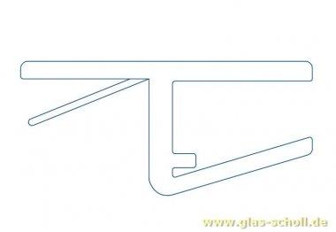 fluchtendes Anschlagprofil 180° (2500mm) Duschdichtung für 6-8mm Glas - ÜBERLÄNGE