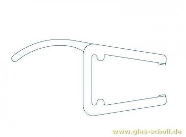 Mitteldichtprofil mit gebogener Weichlippe (2010mm) Duschdichtung für 6-8mm Glas