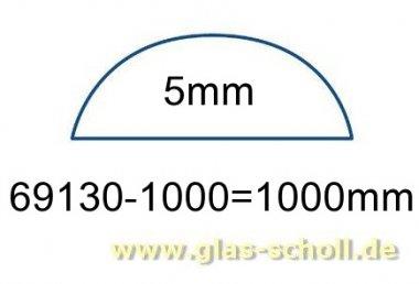 unterer gerader glasklarer 5mm Acrylstab (1000 mm) Schwallschutz (Duschdichtung)