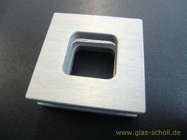 eckige Leichtmetall-Griffmuschel mit Loch 64x64 gebürstete Aluoptik