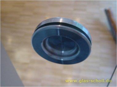 runde Edelstahl-Griffmuschel d=70 für Loch=50 einseitig flach