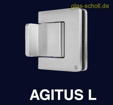 MWE Agitus-L Pendeltürband 90° Glas-Wand beidseitiger Anschraublasche Edelstahl geschliffen