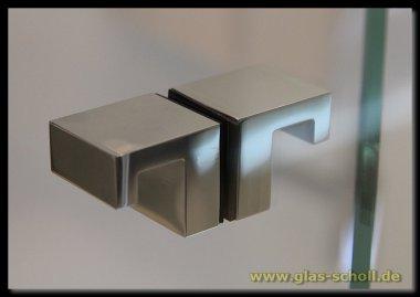 beidseitiger eckiger L-Form Design-Türgriff für Lochbohrung 14mm glanzverchromt