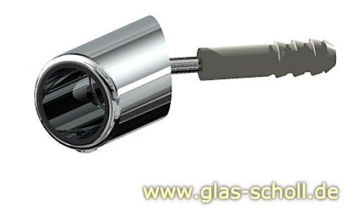schräger 45° Wandadapter für runde Stabilisierungsstange 16mm GLAS-WAND glanzverchromt (MS7)