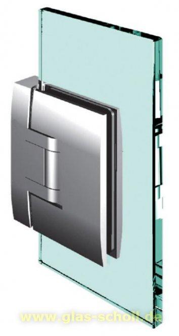 Pontere 90° Glas-Wand Duschpendeltürband (verdeckte dezente schmale Anschraublasche) glanzverchromt