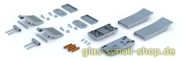 Elektronisches Glastürschloss Smart Entrance, SET mit Türbändern Edelstahloptik gebürstet