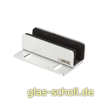 MWE Edelstahl Bodenführung Schrankbefestigung für Glas Edelstahl poliert