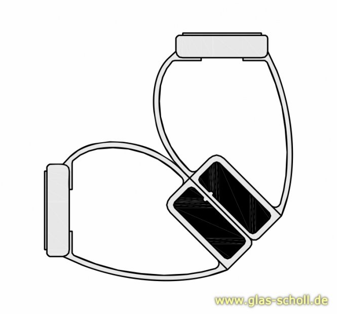 selbstklebende 90 Grad Magnet-Eck-Duschdichtung (2500mm) 8-12mm Glas