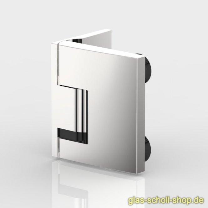 Pavone flächenbündiges Hebe-Senk-Pendel Duschtürband Glas-Wand 90° glanzverchromt