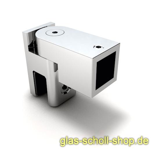 drehbarer Glas-Adapter für quadr. Stabilisierungsstange 15x15 glanzverchromt