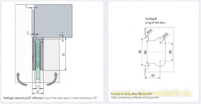 glas scholl webshop pontere 180 glas wand duschpendelt rband einseitige befestigungslasche. Black Bedroom Furniture Sets. Home Design Ideas
