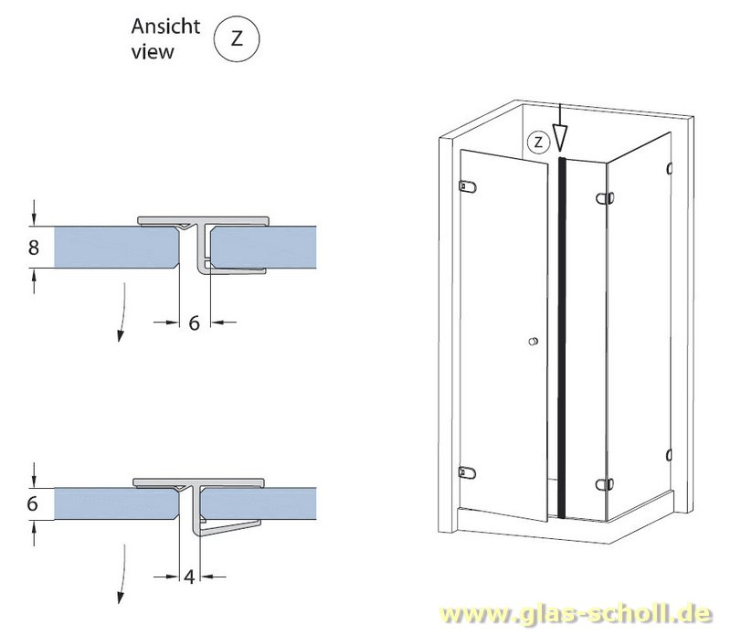 Duscht?rdichtung : fluchtendes Anschlagprofil 180? (2500mm) Duschdichtung f?r 6-8mm